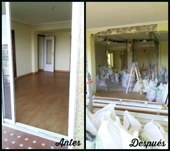 El antes y el después del salón, Paula Duarte Interiores